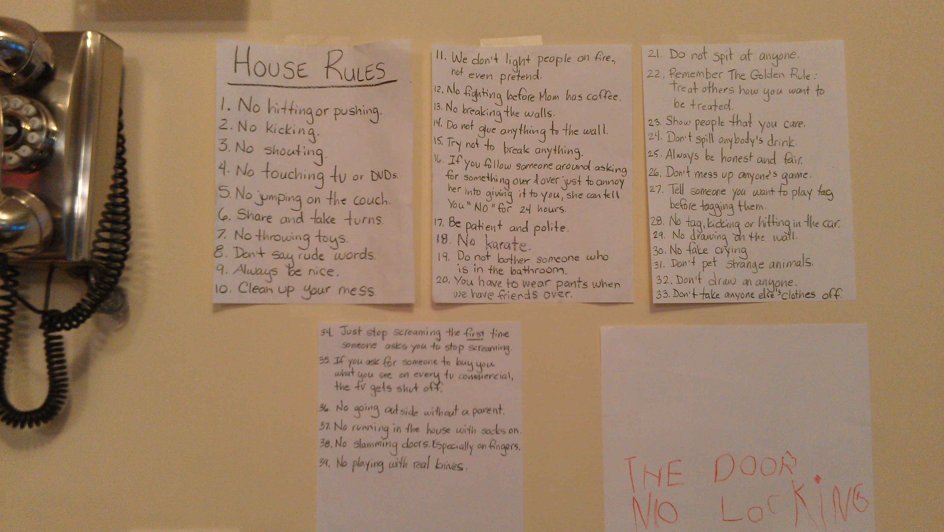 house rules for kids the complete list so far an