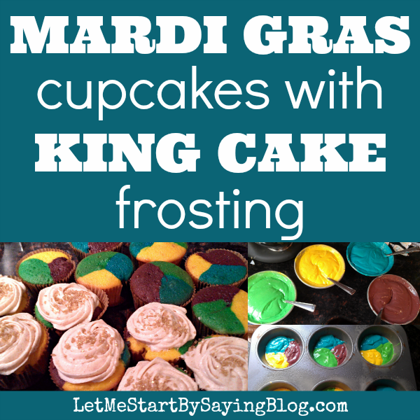 Mardi Gras cupcakes recipe King Cake frosting | Easy king cake recipe for mardi gras color cupcakes by @letmestart