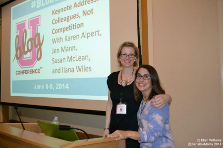 """Colleagues, Not Competition"" keynote moderators: me and Nicole Leigh Shaw."
