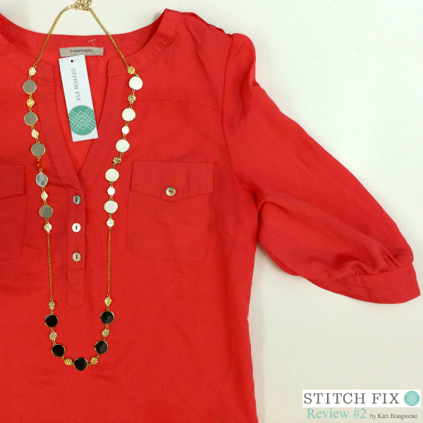 Filbert Popover Blouse in Orange $58 and Tillman Enamel Circle Necklace $34 via #StitchFix Review by @letmestart | WAHM style