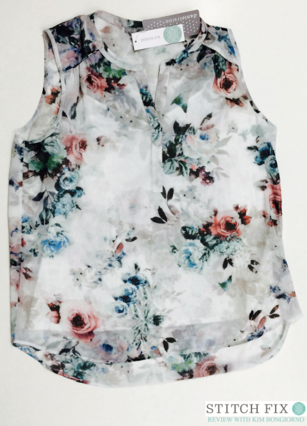 The Vivienne split neck blouse from Stitch Fix looks boxy but is breezy and so pretty on!