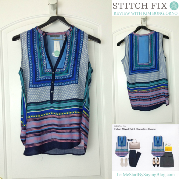 Brixon Ivy Fallon Mixed Print Sleeveless Blouse is light and fun. See more pictures in this Stitch Fix review @letmestart | #stitchfix fashion tips and Stitch Fix Inspiration