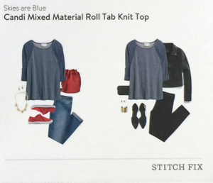 Candi Mixed Material Roll Tab Knit Top Style Card featured in Stitch Fix Review by @letmestart | #stitchfix fashion tips and Stitch Fix Inspiration
