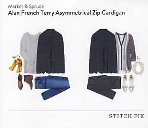 Market and Spruce Alan French Terry Asymmetrical Zip Cardigan from Stitch Fix | via @letmestart | #stitchfix fashion tips and Stitch Fix Inspiration