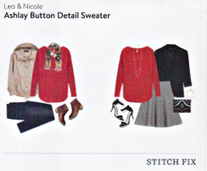 Stitch Fix Leo and Nicole Ashlay Button Detail Sweater in Red featured in a Kim Bongiorno Winter Stitch Fix Review January 2016 Style Card | @letmestart | #stitchfix fashion tips and Stitch Fix Inspiration