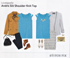 Stitch Fix Loveappella Andris Slit Shoulder Knit Top in Turquoise featured in a Kim Bongiorno Winter Stitch Fix Review January 2016 Style Card | review by @letmestart | #stitchfix fashion tips and Stitch Fix Inspiration