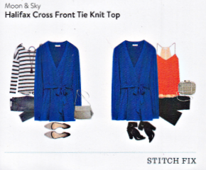 Stitch Fix Moon and Sky Halifax Cross Front Tie Knit Top in Cobalt featured in a Kim Bongiorno Winter Stitch Fix Review January 2016 Style Card | @letmestart | #stitchfix fashion tips and Stitch Fix Inspiration