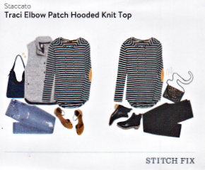 Stitch Fix Staccato Traci Elbow Patch Hooded Knit Top featured in a Kim Bongiorno Winter Stitch Fix Review January 2016 Style Card | striped hoodie via @letmestart | #stitchfix fashion tips and Stitch Fix Inspiration