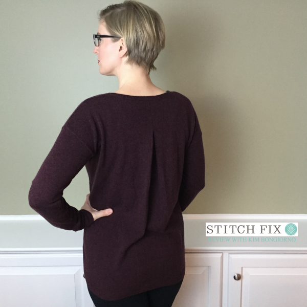Stitch Fix review with Kim Bongiorno featuring Central Park West Lyndy Pullover Sweater in Burgundy Back view detail shot of this cashmere sweater @letmestart | #stitchfix fashion tips and Stitch Fix Inspiration