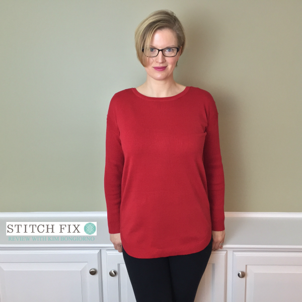 Stitch Fix review with Kim Bongiorno featuring Leo and Nicole Ashaly Button Detail Sweater in Red on @letmestart | #stitchfix fashion tips and Stitch Fix Inspiration