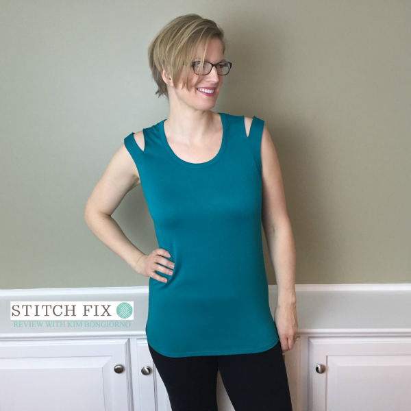 Stitch Fix review with Kim Bongiorno featuring Loveappella Andris Slit Shoulder Knit Top in Turquoise on @letmestart | #stitchfix fashion tips and Stitch Fix Inspiration