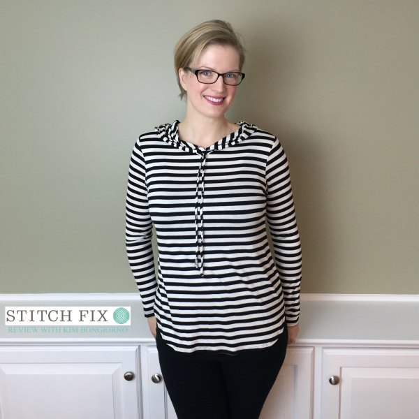 Stitch Fix review with Kim Bongiorno featuring Staccato Traci Elbow Patch Hooded Knit Top in Black and White on @letmestart | #stitchfix fashion tips and Stitch Fix Inspiration