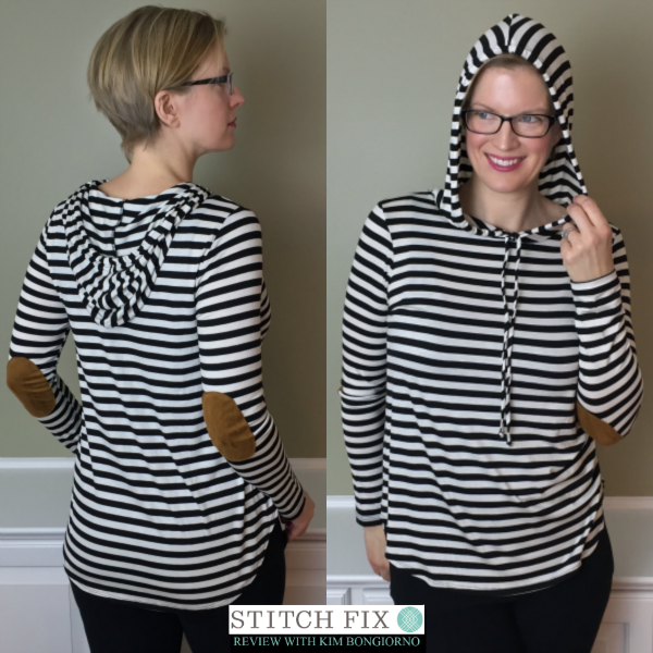 Stitch Fix review with Kim Bongiorno featuring Staccato Traci Elbow Patch Hooded Knit Top in Black and White Front and Back Views | striped hoodie on @letmestart | #stitchfix fashion tips and Stitch Fix Inspiration