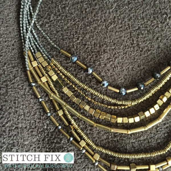 Zad Conan Beaded Layer Necklace with Loveappella Lolla top Spring 2016 Stitch Fix Review with @letmestart | #stitchfix fashion and Stitch Fix Inspiration | silver and gold detail shot