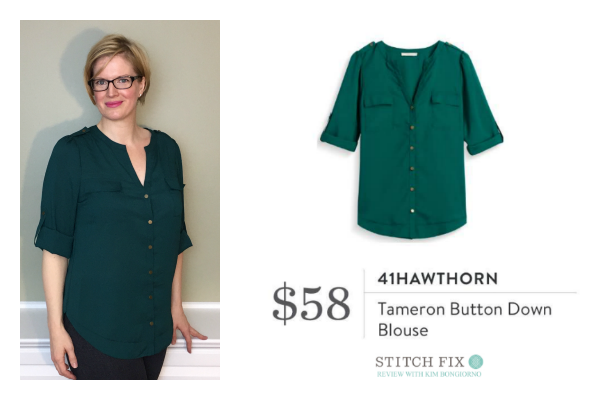 Stitch Fix 41Hawthorn Tameron Button Down Blouse in dark green | #stitchfix review by @letmestart