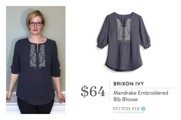 Stitch Fix Brixon Ivy Mandrake Embroidered Bib Blouse in Grey | #stitchfix review by @letmestart