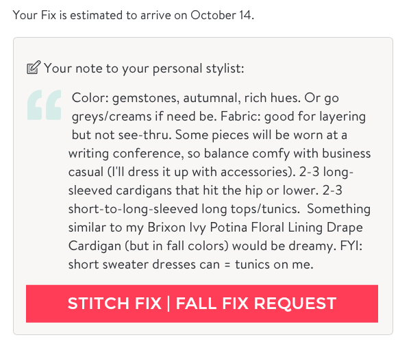 Stitch Fix Fall Fashion note to stylist by @letmestart | #stitchfix