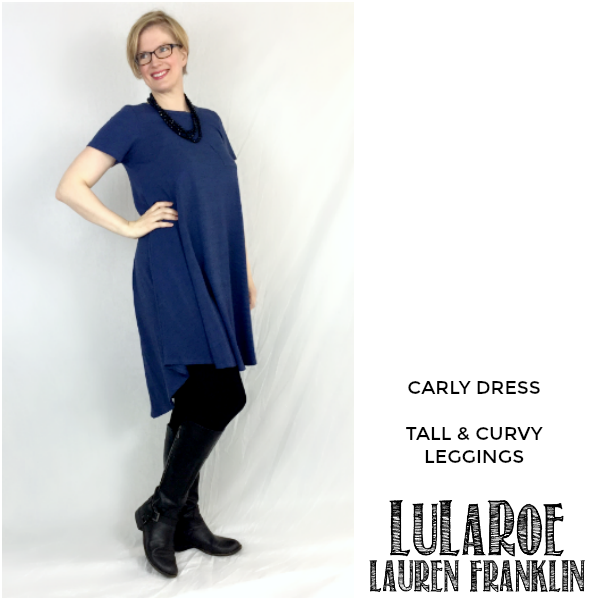 LuLaRoe Lauren Franklin featuring Kim Bongiorno in the LuLaRoe Carly dress and Tall and Curvy leggings - plus 14 other outfits! | WAHM style