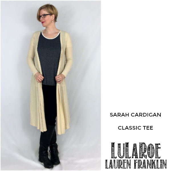LuLaRoe Lauren Franklin featuring Kim Bongiorno in the LuLaRoe Sarah cardigan and Classic tee - plus 14 other outfits! | WAHM style