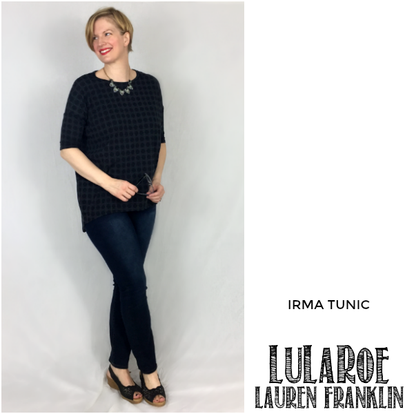 LuLaRoe Lauren Franklin featuring Kim Bongiorno in the LuLaRoe Irma tunic - plus 14 other outfits! | WAHM style