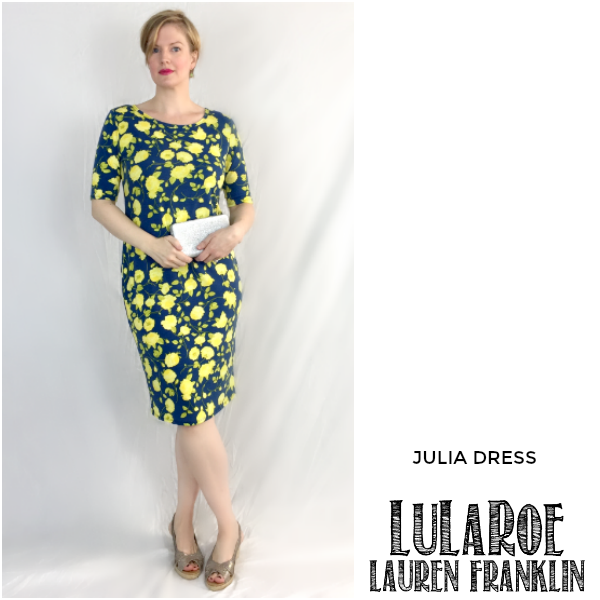 LuLaRoe Lauren Franklin featuring Kim Bongiorno in the LuLaRoe Julia dress - plus 14 other outfits! | WAHM style