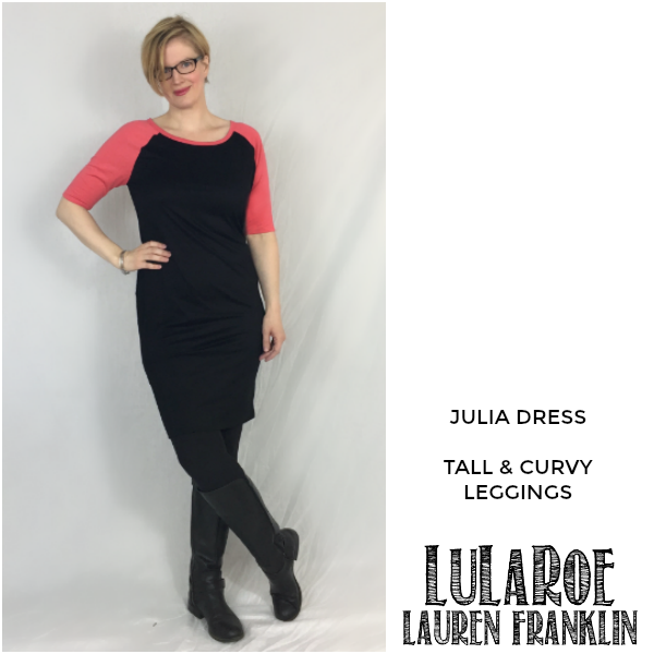 LuLaRoe Lauren Franklin featuring Kim Bongiorno in the LuLaRoe Julia dress and Tall and Curvy leggings - plus 14 other outfits! | WAHM style