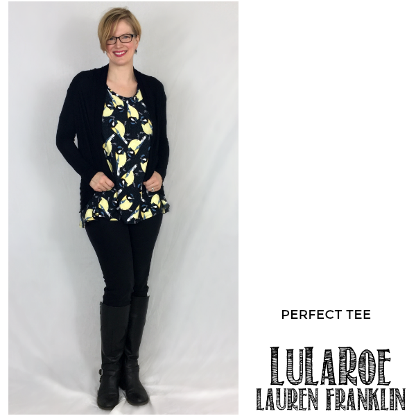 LuLaRoe Lauren Franklin featuring Kim Bongiorno in the LuLaRoe Perfect tee - plus 14 other outfits! | WAHM style