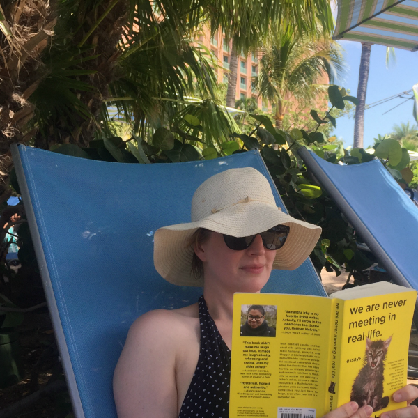 Me reading We Are Never Meeting in Real Life while avoiding other humans at the pool | Books I Read While on Vacation by @letmestart