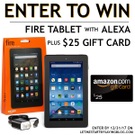 Win a Kindle Fire with Alexa plus an Amazon Gift Card | holiday giveaway free Kindle Fire tablet